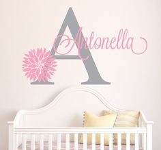 Personalized Name Decal Baby Girl Name Nursery Wall Decals - Custom vinyl wall decals flowers