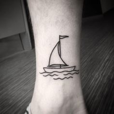 What does sailboat tattoo mean? We have sailboat tattoo ideas, designs, symbolism and we explain the meaning behind the tattoo. Mini Tattoos, Cool Tattoos, Tatoos, Henna Tattoos, Small Foot Tattoos, Foot Tattoos For Women, Diy Tattoo, Segel Tattoo, Sailing Tattoo