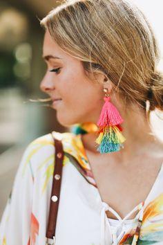 Rainbow tassel earrings