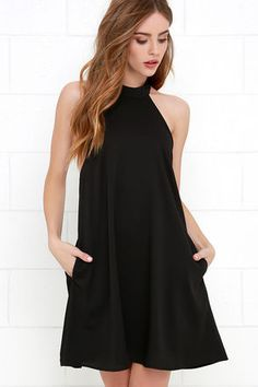 The I Need a Hero Black Halter Dress will sweep you off your feet with its tying halter neckline, open back and trapeze silhouette. Hidden back zipper. Fully lined. Cute Dresses, Beautiful Dresses, Casual Dresses, Short Dresses, Fashion Dresses, Halter Dresses, Halter Dress Casual, Halter Dress Summer, Lulu's Dresses