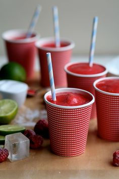 Fresh Raspberry Slushies (that can easily be made alcohol free!)
