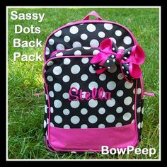 Sassy Dots Monogrammed Backpack Polka Dots Name School Girls Tween Hot Pink  Black Dance Personalized Bookbag Gift Set School Book Bag.  26.95 cc2cd948f0a84