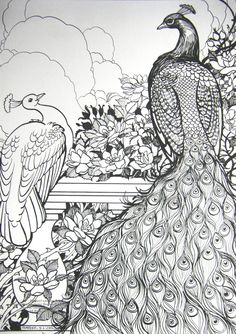 Peafowl and Roses by HouseofChabrier.deviantart.com on @DeviantArt