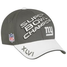 Time to crack open the champagne Giants fans. Celebrate an awe-inspiring Super Bowl win with this comfy New York Giants Super Bowl XLVI Champions Locker Room Hat. Features embroidered team graphics, vibrant colors and the official Super Bowl XLVI logo. Justin Tuck, Jason Pierre Paul, Mary Lou Retton, Nfl New York Giants, Different Sports, G Man, Trends, My Collection, Hats For Men