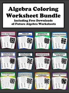 Algebra graphing linear equations bingo game stuff for school algebra coloring worksheet bundle fandeluxe Choice Image