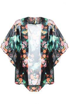 Black And Orange Flower Print Cocoon Kimono