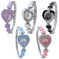 FW899A New Shiny Silver Band zwarte wijzerplaat Ladies Crystal Heart Case armband te bekijken