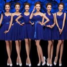 Aliexpress.com  Comprar Azul marino gasa vestido de dama atractivo del amor  del hombro delgado hermana de moda banquete de boda Formal corto vestido de  ... 50b2e5388941