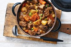 This classic warm-you-up stew becomes even more comforting when made with well-marbled pot roast rather than the usual stewing beef. The fat melts slowly as it cooks, tenderizing the beef into juicy melt-in-your-mouth morsels. A slow finish in the oven gives the stew its rich, hearty texture.