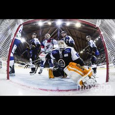 Lugano's goalkeeper Elvis Merzlikins, center, is pictured during the game between Switzerland's HC Lugano and Germany's Adler Mannheim, at the 89th Spengler Cup ice hockey tournament in Davos, Switzerland, on Saturday, December 26, 2015.  EPA/GIAN EHRENZELLER (MaxPPP #photo #photos #pic #pics #picture #pictures #art #beautiful #instagood #picoftheday #photooftheday #color #exposure #composition #focus #capture #moment #sport #photojournalism #photojournalisme #maxppp