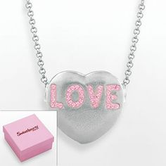 "Sweethearts Silver Plate Pink Crystal ""Love"" Heart Pendant - Made with Swarovski Elements"
