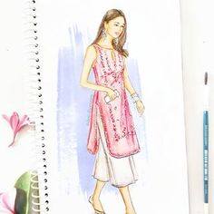 A pastel pink kurti with silver gota patti work, breezy bottoms and traditional juttis - all makes for a pretty Indian look! ✨ What's your pick when it comes to Indian outfits, share your style ideas in comments. Dress Design Drawing, Dress Design Sketches, Fashion Design Sketchbook, Fashion Design Drawings, Dress Drawing, Fashion Sketches, Dress Designs, Fashion Illustration Tutorial, Dress Illustration