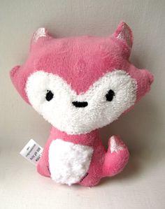 Plush Fox Rattle Pink Girl Woodland Stuffed Animal Toy Baby Gift. $11.00, via Etsy.