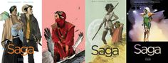 Saga is an epic space opera/fantasy comic book series created by writer Brian K. Vaughan and artist Fiona Staples. Heavily influenced by Star Wars, it depicts two lovers from long-warring extraterrestrial races, Alana and Marko, fleeing authorities from both sides of a galactic war as they struggle to care for their newborn daughter, Hazel, who occasionally narrates the series.