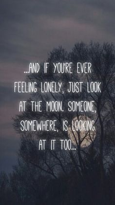 ...And if you're ever feeling lonely,  just look at the moon.  Someone, somewhere, is looking at it too.