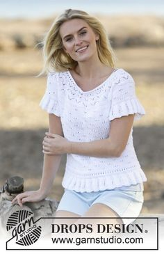 "White Romance / DROPS 159-12 - Knitted DROPS top with lace pattern, short sleeves and round yoke in ""Safran"". Size: S - XXXL."