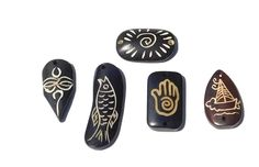 Set of 5 Bone Pendants, Dark Brown Carved Designs, Fish Sailboat, Sun Hand, Tiki…
