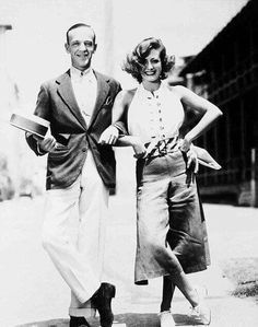"Fred Astaire and Joan Crawford on the set of ""Dancing Lady"" (1933). Great look Joan!"