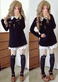 "dolldelight: "" Top ♥ Skirt ♥ Tights ♥ Shoes """