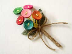 Groom Boutonniere - Wooden Buttons Corsage Pin by FloroMondo, $7.00 / colorful groom / rustic attire