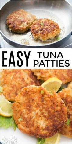 Easy Tuna Patties Easy Meals For The Whole FamilyHow to turn a couple cans of tuna into dinner.How to make healthy tuna patties.Ever had one of those empty-fr Fish Dishes, Seafood Dishes, Seafood Pasta, Tuna Dishes, Salmon Recipes, Chicken Recipes, Healthy Chicken, Canned Tuna Recipes, Fresh Tuna Recipes