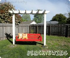 DIY Arbor Bench Swing with a link to the plans I think this is what Rickey wants to do Angela Burow Binger Arbor Swing, Arbor Bench, Bench Swing, Patio Swing, Diy Swing, Porch Swings, Diy Bench, Backyard Projects, Outdoor Projects