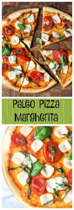 Paleo Pizza Margherita. I love pizza! And I am grain-free and dairy-free! This recipe will satisfy ALL pizza eaters -- soooooo good and sooooo easy and healthy!