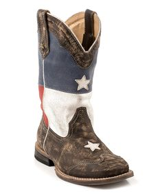 Loving this Roper Brown Texas Flag Square-Toe Cowboy Boot on #zulily! #zulilyfinds