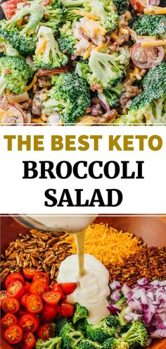 This is an easy and healthy recipe for making the best keto broccoli salad with bacon. This is a cold salad with a creamy low carb sweet ish dressing, crunchy raw broccoli (or cauliflower), perfect for summer. To make paleo or dairy free, just omit the cheese.