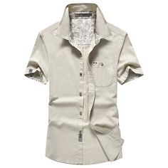 AFSJEEP Mens Summer Casual Cotton Flax Breathable Wicking Short Sleeve Pocket Casual Shirts