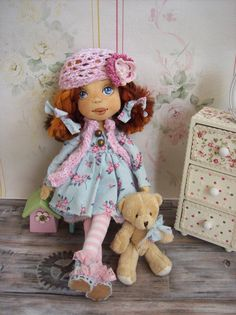 Fruzsina Doll textile art doll.Hat is hand by TrixiCreation