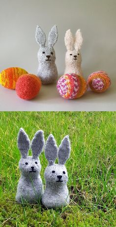 Free Knitting Pattern for Easter Bunny Rabbits Knitted Bunnies, Crochet Bunny, Quick Crochet, Simple Crochet, Crochet Rope, Knitting Stiches, Free Knitting, Free Rabbits, Bunny Rabbits