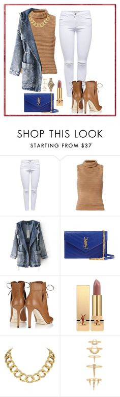 """""""Jean Jacket 2"""" by pgaliano ❤ liked on Polyvore featuring Exclusive for Intermix, Yves Saint Laurent, Jimmy Choo, House of Harlow 1960, Luv Aj and Shinola"""