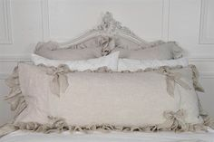 Linen ruffle large body pillow  by FullBloomCottage on Etsy