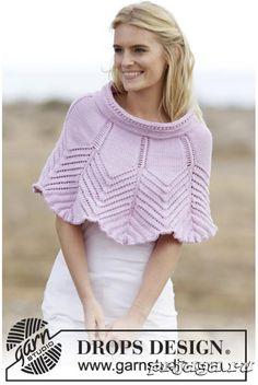 Ponchos & Shawls - Free knitting patterns and crochet patterns by DROPS Design Poncho Knitting Patterns, Knitted Poncho, Knitted Shawls, Crochet Shawl, Knit Patterns, Free Knitting, Knit Crochet, Lace Shawls, Finger Knitting