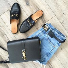 Accessorize with FABULOUS Gucci mules, YSL handbag & Gucci leather belt