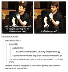 """I bet this phone call happened at 2 am with no greeting and Dan knew exactly who it was and why."""