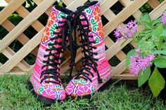 Hmong embroidered vegan girls combat boot. Little Britta, girls combat boot in colorful embroidery Gorgeous one of a kind bohemian style for the smaller