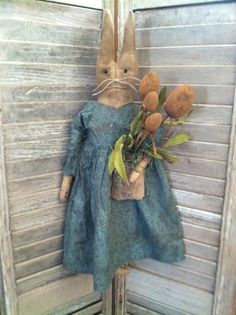Primitive Easter Grungy Bunny Rabbit Handmade #Collectible