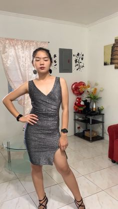 Silver Sparkle Shiny Short Tight Short Dress With Side Slit Thigh Split, Sleeveless and V-Neck. This Bodycon mini dress is perfect for night out, club and party. #silver