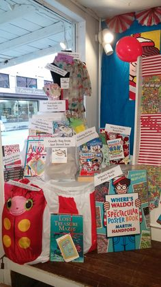 Waldo prize display at The Book Nook in Brenham, TX for #FindWaldoLocal 2015