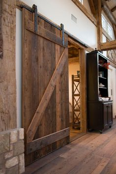DIY barn door can be your best option when considering cheap materials for setting up a sliding barn door. DIY barn door requires a DIY barn door hardware and a Diy Barn Door, Sliding Barn Door Hardware, Door Hinges, Rustic Barn Doors, Door Latch, Diy Door, Door Brackets, Barn Style Sliding Doors, Wood Barn Door