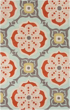 Kate Spain by Surya Alhambra Light Gray and Poppy Floral Paisley Rug