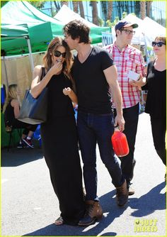 Ian Somerhalder and his girlfriend Nikki Reed browsing items at the Farmers Market in Los Angeles