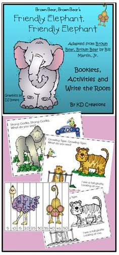 Elephant, Elephant is a fun adaption of the old favorite Brown Bear, Brown Bear that will be a great addition to your zoo unit! Enjoy a color copy teacher booklet to share with the class and a black and white printable copy of the story for each student to have for their own.