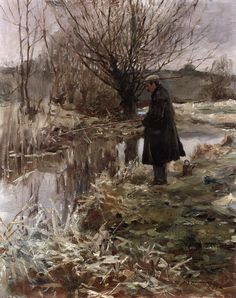 Sir Alfred James Munnings - Pike fishing in January; Creation Date: Medium: oil on canvas; Dimensions: X cm. Seascape Paintings, Landscape Paintings, Alfred Munnings, Pike Fishing, Royal Academy Of Arts, Vintage Fishing, Traditional Paintings, Art For Art Sake, Equine Art