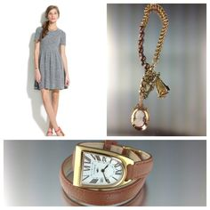 Dress found online at Madewell. The necklace is a one of a kind repurposed piece by Krombholz made out of a pocket watch chain, cigar cutter, toggle, beautiful cameo and chocolate south sea pearls. Wrap around watch by Dimacci. Both found instore at Krombholz Jewelers.