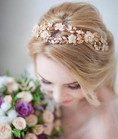 Items similar to Flower bridal crown Gold tiara Gold flower headband Flower tiara Bridal gold wreath Gold wedding crown Gold leaf crown Gold flower vine on Etsy Flower Tiara, Flower Crown, Bridal Crown, Bridal Tiara, Clay Flowers, Gold Flowers, Gold Leaf Crown, Gold Wedding Crowns, Gold Wreath