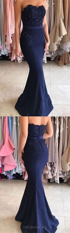 Dark Blue Prom Dresses, Long Prom Dresses Lace, Trumpet/Mermaid Prom Dresses Sweetheart, Silk-like Satin Prom Dresses with Appliques Modest #mermaid #formaldress