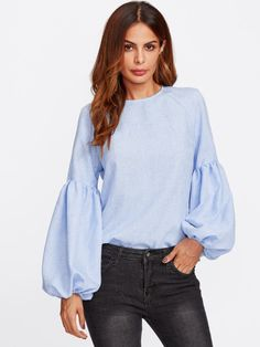 SHEIN Exaggerated Lantern Sleeve Keyhole Back Top Blue Casual Womens Long Sleeve Tops Autumn Womens Tops and Blouses Blue Fashion, Hijab Fashion, Hijab Stile, Black Dress With Sleeves, Blouse Designs, Blouses For Women, Casual, Long Sleeve Tops, Clothes